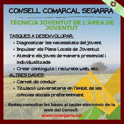 Borsa de treball de Tècnic/a de Joventut a l'Oficina Jove de la Segarra.